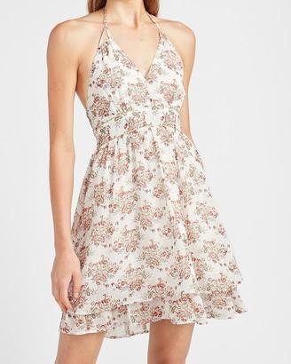 Express Metallic Floral Tie Neck Halter Dress