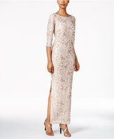 Calvin Klein Floral-Sequined Column Gown