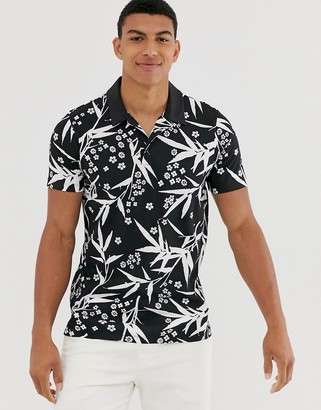 Jack and Jones printed polo in black with revere collar