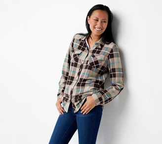 Denim & Co. Brushed Heavenly Jersey Plaid Y-Neck Button-Up Top