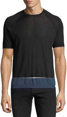 Prada Lana Contrast-Hem Silk-Blend Sweater