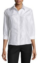Carolina Herrera Taffeta 3/4-Sleeve Blouse, White
