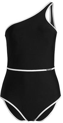 Calvin Klein Swim Belted One-Shoulder One-Piece Swimsuit