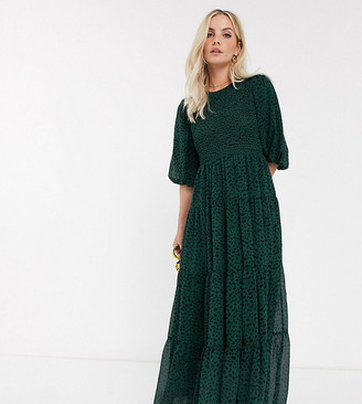Asos DESIGN Petite shirred tiered maxi dress in spot print
