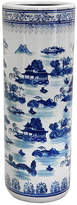 Asstd National Brand Oriental Furniture 24 Landscape Blue & White Porcelain Umbrella Stand