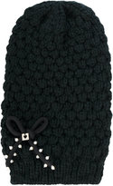 Twin-Set chunky knit bow beanie - women - Cotton/Acrylic - One Size