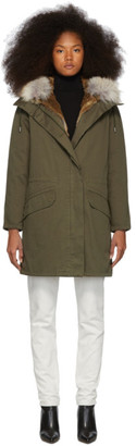 Yves Salomon Army Green Down and Fur Cotton Parka
