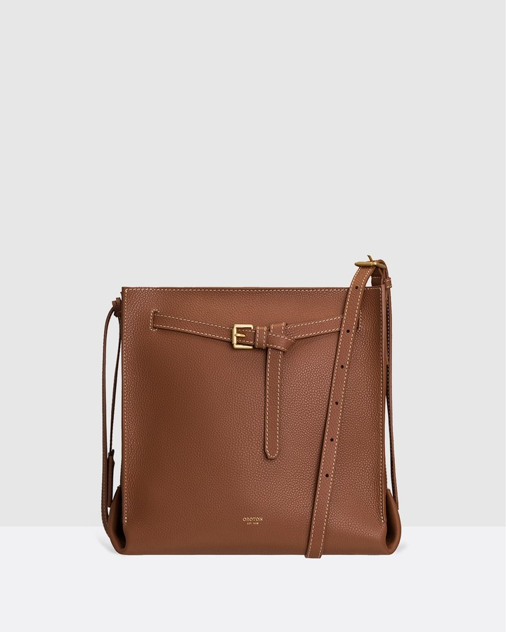 Oroton Women's Brown Leather bags - Margot Bucket - Size One Size at The Iconic