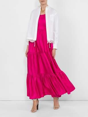La DoubleJ dinner at the pelicano silk maxi dress pink