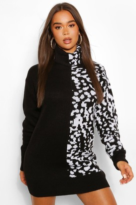 boohoo Leopard Jacquard Turtleneck Sweater Dress