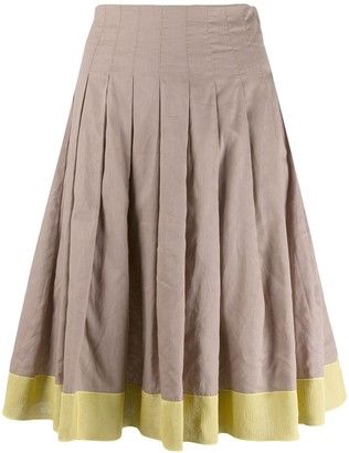 Prada Pre-Owned Contrast Pleated Skirt
