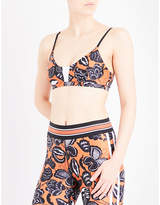 The Upside Butterfly stretch-jersey cropped top