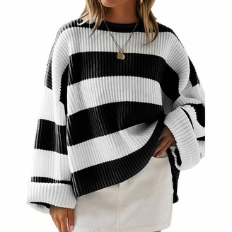 Musheng women Womens Stripe Sweaters Crew Neck Oversized Chunky Casual Long Sleeve Pullover Loose Knitted Jumper Top (Black M)