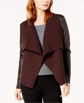Bar III Drape-Front Faux-Leather Jacket, Created for Macy's