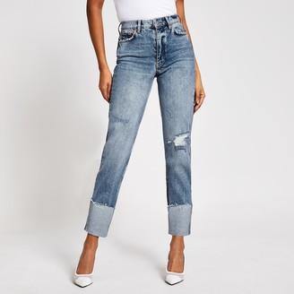 River Island Womens Blue ripped Blair high rise straight jeans