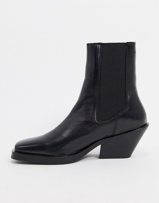 Selected heeled leather boots with square toe in black