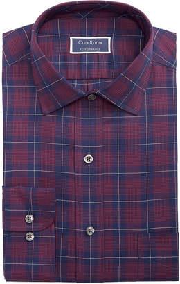 Club Room Men Classic/Regular Fit Stretch Twill Houndstooth Plaid Dress Shirt