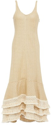 3.1 Phillip Lim Crochet-trimmed Tiered Cotton-blend Midi Dress