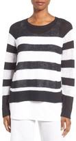 Eileen Fisher Women's Slub Stripe Organic Linen & Cotton Top