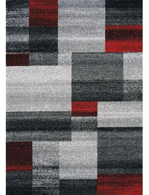 "Orren Ellis Eleanor Blocks Gray/Red Area Rug Rug Size: Rectangle 7'10"" x 10'6"""