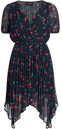 The Kooples V-Neck Cherry Print Asymmetric Dress
