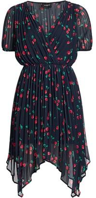 The Kooples V-Neck Cherry Print Asymmetric Dress