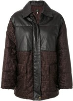 Fendi Pre Owned Zucca pattern panelled coat
