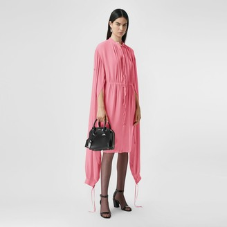 Burberry Loop-back Sleeve Silk Crepe De Chine Dress