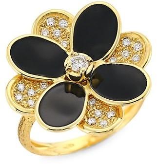 Marco Bicego Petali 18K Yellow Gold, Black Enamel & Diamond Pave Flower Ring