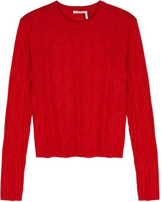 Chloé Red Cable-knit Wool-blend Jumper