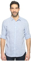 Perry Ellis Solid Rolled-Sleeve Linen Shirt Men's Clothing
