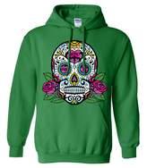 Dolphin Shirt Co Dia De Los Muertos Sugar Skull Roses Sweatshirt Hoodie - 3X-Large