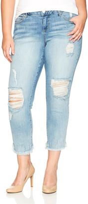 SLINK Jeans Women's Plus Size Maggie Ripped Boyfriend Jean