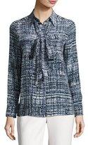 Escada Weave-Print Silk Necktie Blouse
