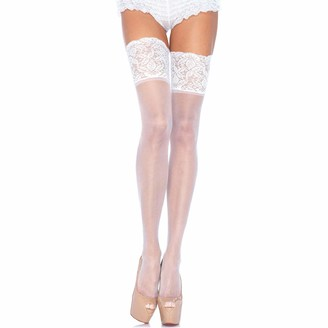 Leg Avenue Women's Plus Size Stay-Up Lace Band Top Thigh Highs