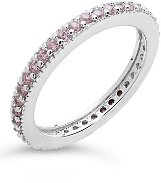 Sterling Forever Sterling Silver CZ Eternity Band Ring - Light Pink
