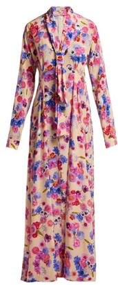 Natasha Zinko Floral-print Silk Dress - Womens - Pink Multi