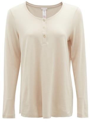 Hanro Scoop-neck Cotton-blend Jersey Pyjama Top - Womens - Beige