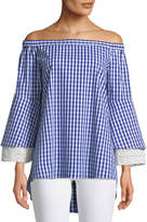 Neiman Marcus Off-The-Shoulder Gingham Crochet-Cuff Blouse