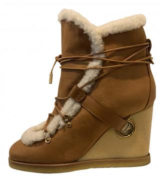 Salvatore Ferragamo Camel Suede Ankle boots