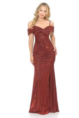 Lenovia Off The Shoulder Wine Metallic Fit & Flare Long Formal Dress