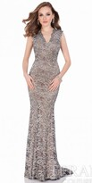 Terani Couture Scalloped Metallic Lace Evening Gown