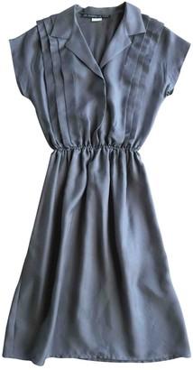 Les Prairies de Paris Grey Silk Dress for Women