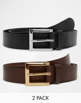 Asos Smart Leather Belt In Black/Brown 2 Pack SAVE