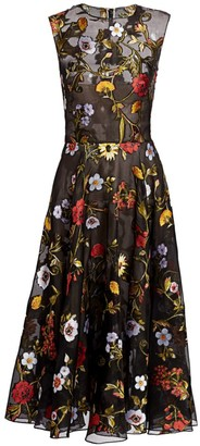 Oscar de la Renta Ikat Floral-Embroidered Tulle A-Line Dress