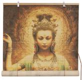 "Oriental Furniture Kwan Yin with Lotus Bamboo Matchstick Blinds - 72"" x 72"""