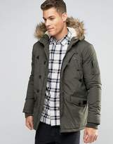 Brave Soul Parka Jacket With Faux Fur Trim Hood