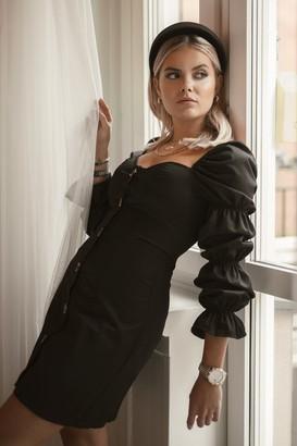 Romy X NA-KD Puff Sleeve Button Dress Black