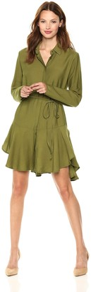 The Fifth Label Women's Crew Long Sleeve Button Down Shirt Dress with Dropped Waist