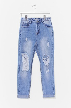 Nasty Gal Womens Distress Around Faded Mom Jeans - Blue